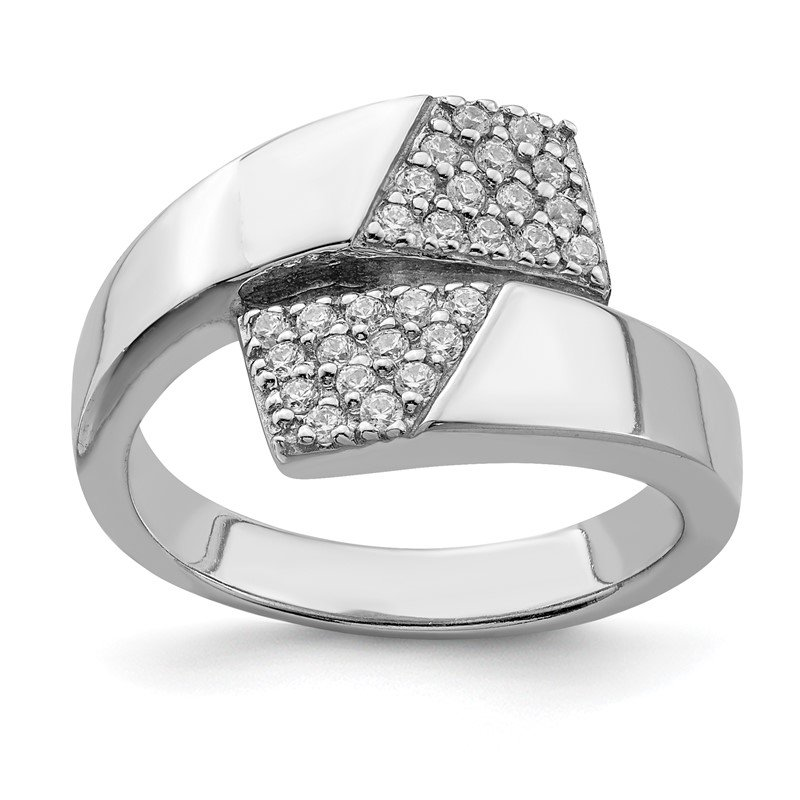 Quality Gold Sterling Silver Rhodium-plated Polished with CZ Ring