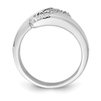Sterling Silver Rhodium-plated Polished with CZ Ring