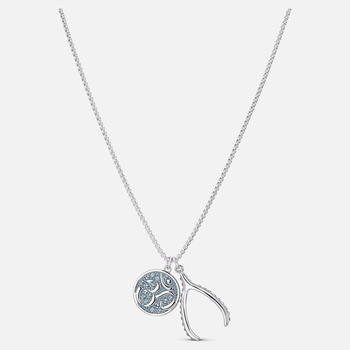 Sand Pendant, Blue, Rhodium plated