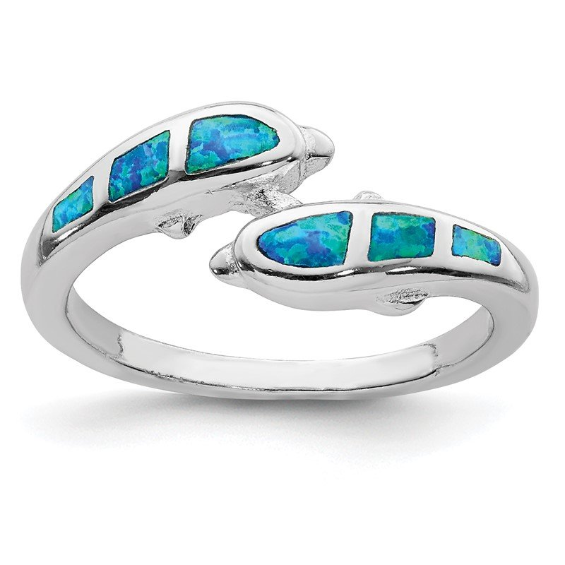 Quality Gold Sterling Silver Rhodium Created Blue Opal Dolphins Ring