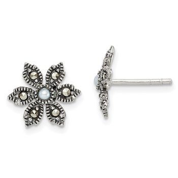 Sterling Silver Antiqued Marcasite/FWC Pearl Flower Post Earrings