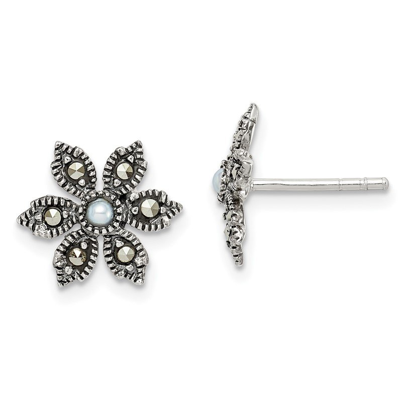 Quality Gold Sterling Silver Antiqued Marcasite/FWC Pearl Flower Post Earrings