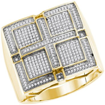 10kt Yellow Gold Mens Round Pave-set Diamond Square Cross Cluster Ring 1/2 Cttw
