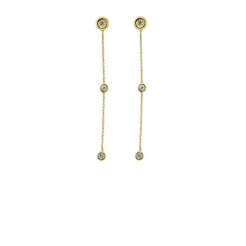Roberto Coin 18Kt Gold Diamond Dangling Earrings