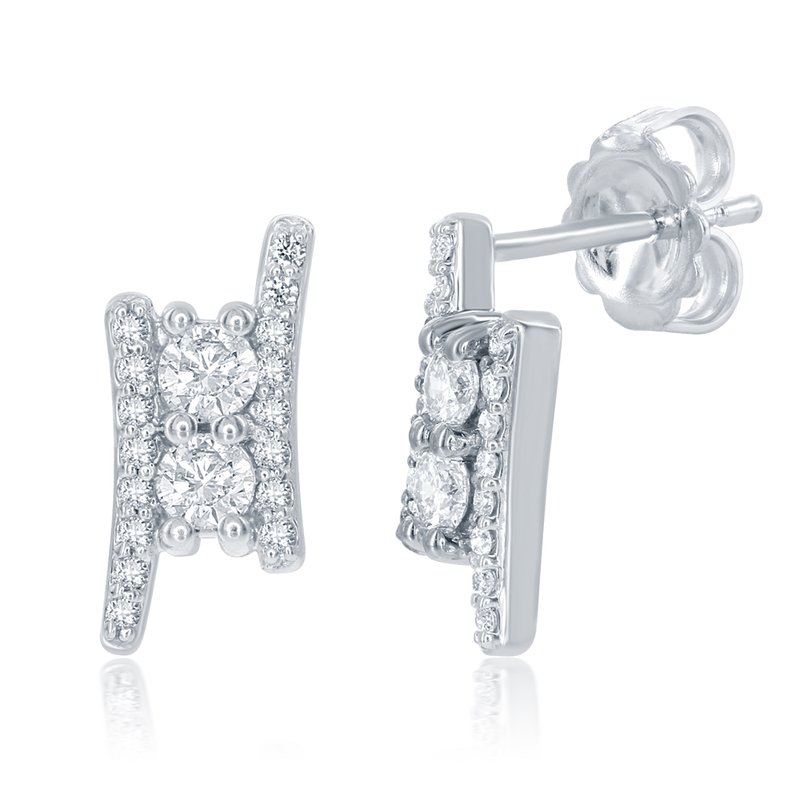 S. Kashi  & Sons White Gold Two Stone Earring