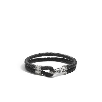 Classic Chain Hook Clasp Bracelet in Silver and Leather