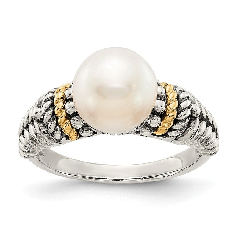 Shey Couture Sterling Silver w/14k 8mm FW Cultured Pearl Ring