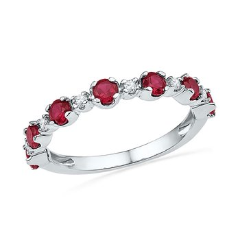 10kt White Gold Womens Round Lab-Created Ruby Band Ring 1.00 Cttw