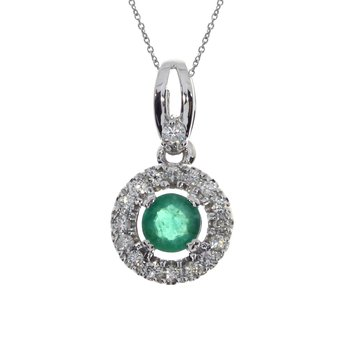 14k White Gold Emerald and Diamond Halo Pendant