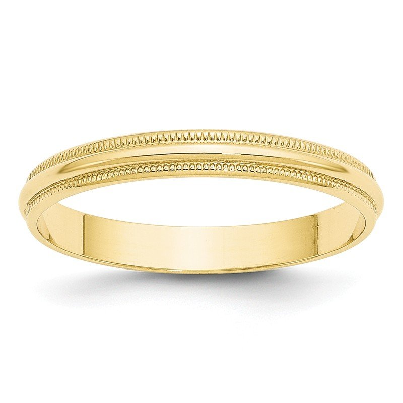 Quality Gold 10KY 3mm LTW Milgrain Half Round Band Size 10