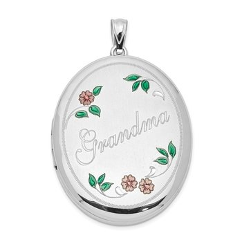 Sterling Silver Rhodium-plated Grandma W/ Enamel Flowers 34mm Oval Locket