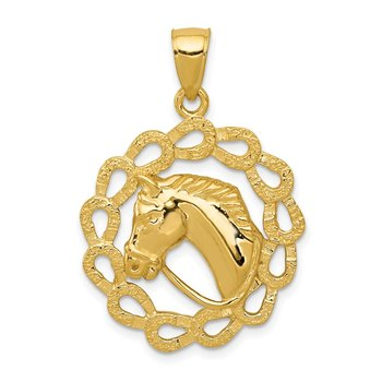 14k Solid Polished Horse Head in Horseshoes Pendant