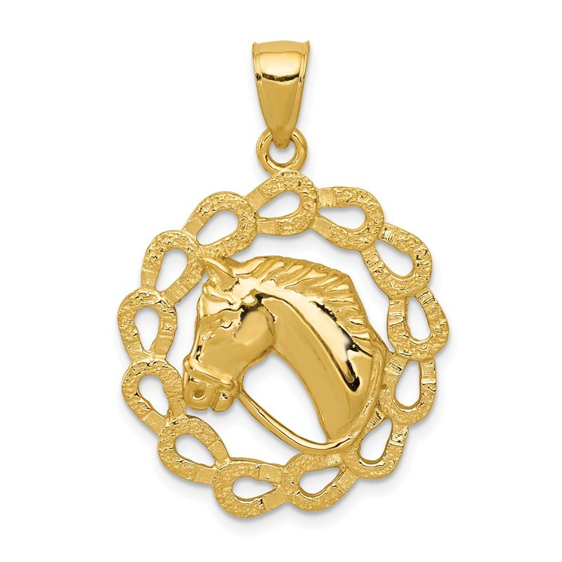 Quality Gold 14k Solid Polished Horse Head in Horseshoes Pendant