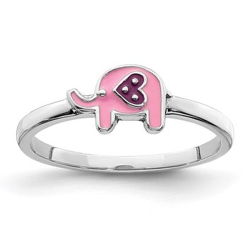 Sterling Silver Rhodium-plated Childs Enameled Pink Elephant Ring