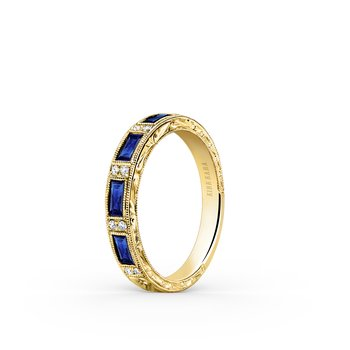Blue Sapphire Artful Diamond Wedding Band