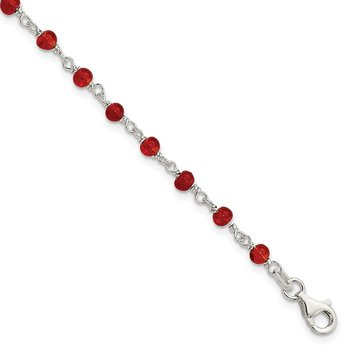 Sterling Silver Dark Red CZ Polished Bracelet