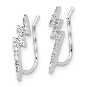Sterling Silver Rhodium-plated CZ Lightning Bolt Ear Climber Earrings