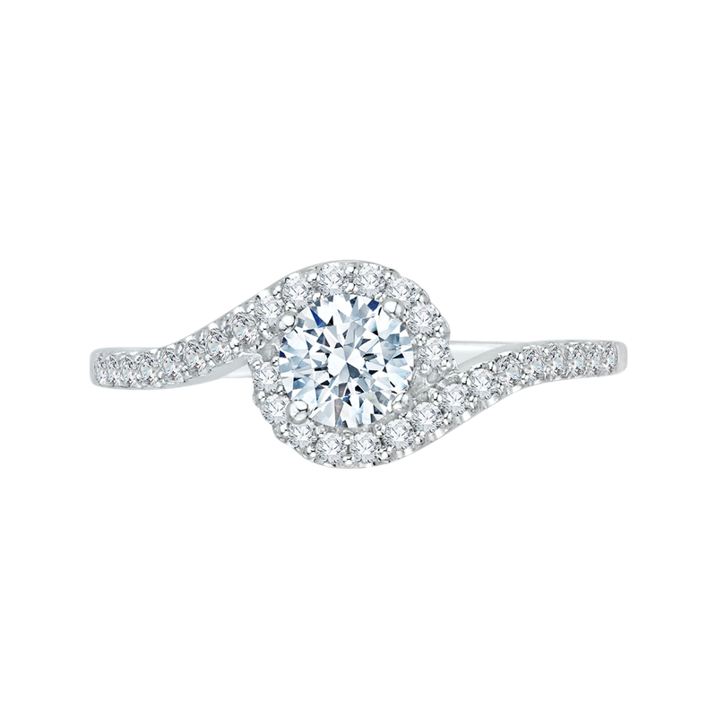 Promezza 14K White Gold Round Cut Diamond Promise Engagement Ring