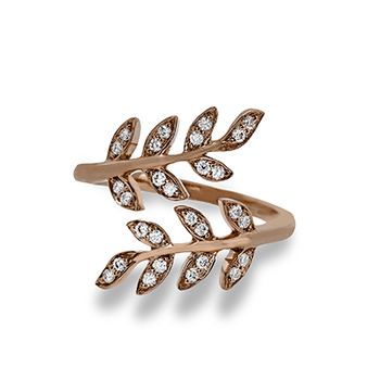 Simon G 18kt rose gold wrap around vine ring, 0.20ct tw diamonds. Available at our Halifax store.