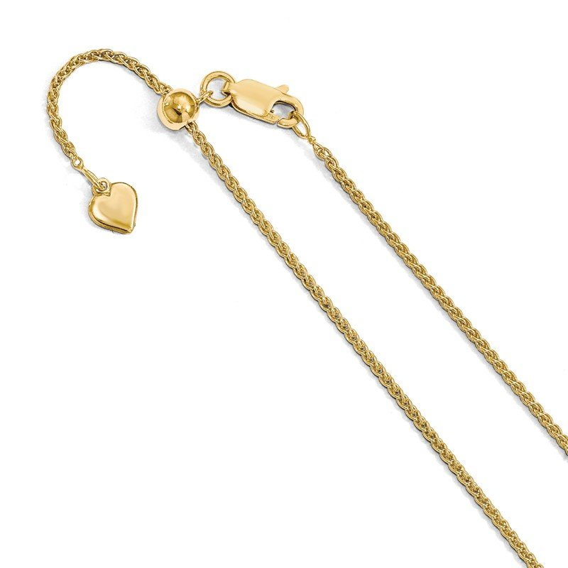 Leslie's Leslie's Sterling Silver 1.5 mm Gold-plated Adjustable Spiga Chain