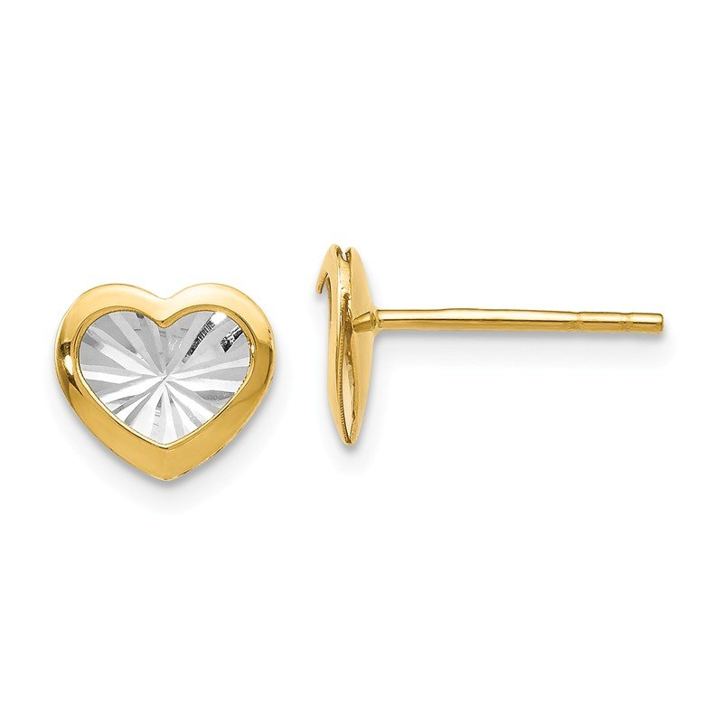 Leslie's Leslie's 14K w/White Rhodium Polished & D/C Heart Post Earrings