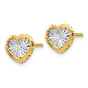 Leslie's 14K w/White Rhodium Polished & D/C Heart Post Earrings