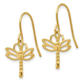 14k Dragonfly Shepherd Hook Earrings