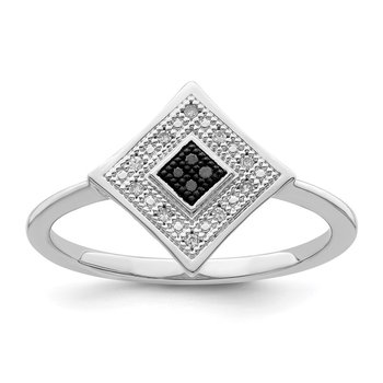 Sterling Silver Rhod Plated Black and White Diamond Ring
