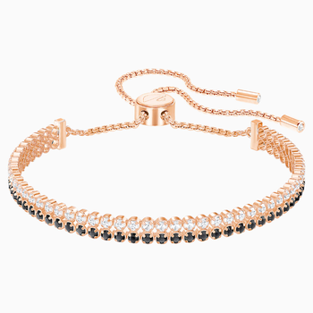 Subtle Bracelet, Black, Rose-gold tone plated