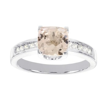 14k White Gold 1 1/3ct Morganite, 1/7ct Diamond Ring