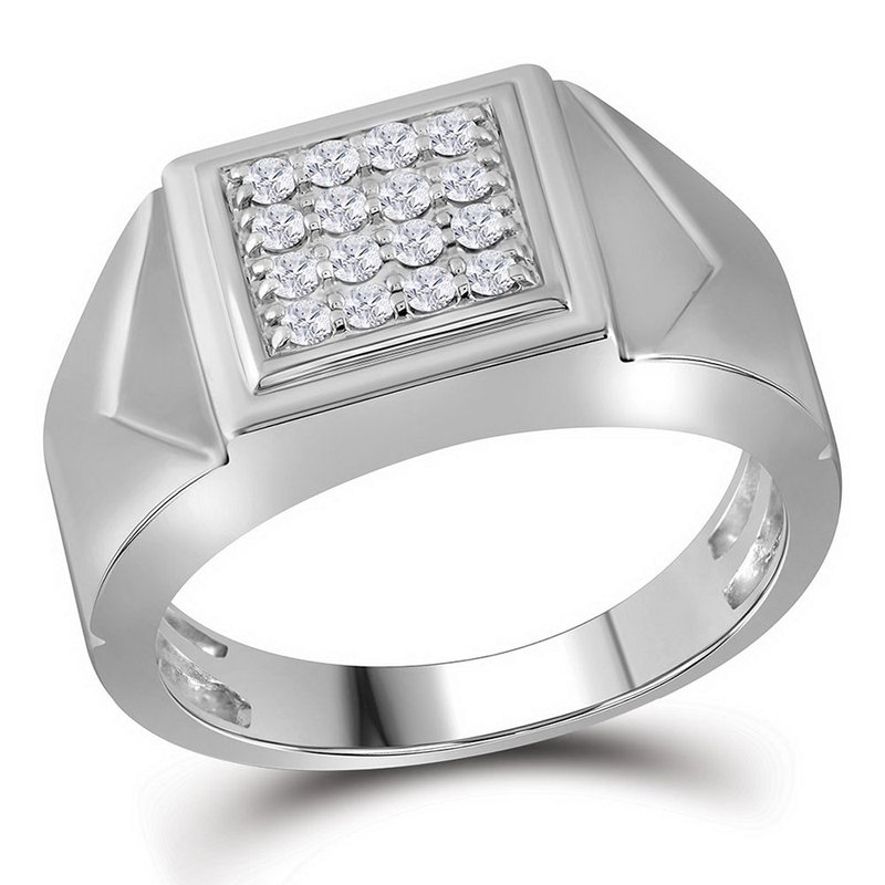 Gold-N-Diamonds, Inc. (Atlanta) 10kt White Gold Mens Round Diamond Square Cluster Faceted Fashion Ring 1/3 Cttw