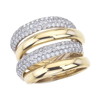 Two-Tone 4 Row Fashion Band with Diamonds