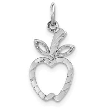 14k White Gold Diamond-cut Apple Charm