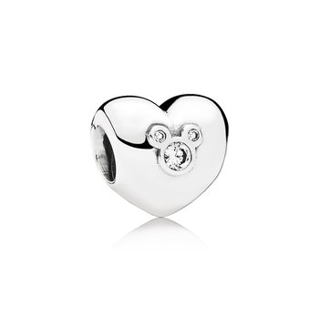 Disney, Heart of Mickey Charm, Clear CZ
