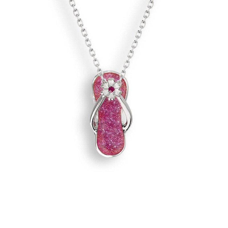 Nicole Barr Designs Pink Flip-Flop Necklace.Sterling Silver-Ruby