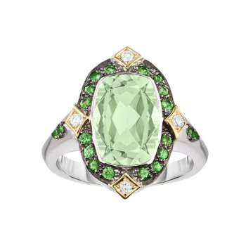 Silver & 18K Green Amethyst & Dia Gem Candy Ring
