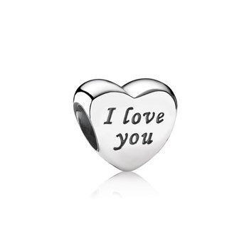 Words Of Love Engraved Heart Charm