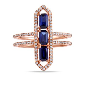 14K art deco design ring 88 Diamonds 0.31C & 3 rectangular Sapphires 1.05C