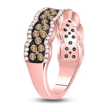 14kt Rose Gold Womens Round Brown Color Enhanced Diamond Band Ring 1.00 Cttw