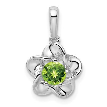 Sterling Silver Rhodium-plated Floral Peridot Pendant
