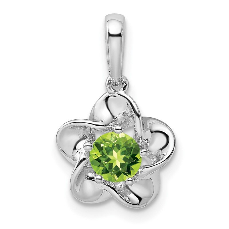 Quality Gold Sterling Silver Rhodium-plated Floral Peridot Pendant