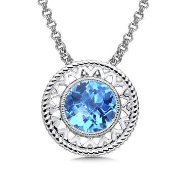 Sterling Silver Blue Topaz Cairo Pendant