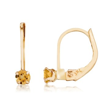 14k Petite Citrine Leverback Earrings