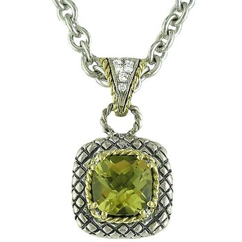 18kt and Sterling Silver Cushion Lemon Quartz and Diamond Button Pendant with Chain