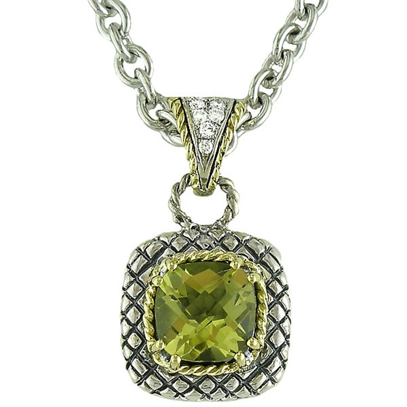 Andrea Candela 18kt and Sterling Silver Cushion Lemon Quartz and Diamond Button Pendant with Chain