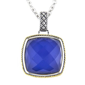 18kt and Sterling Silver Cushion Blue Agate Pendant with Chain