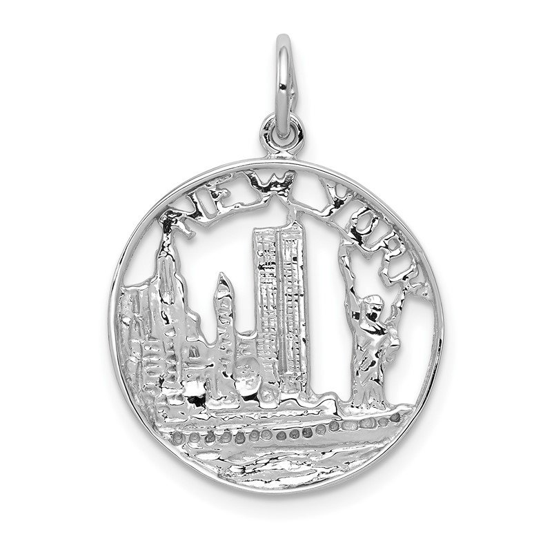 Quality Gold 14k White Gold Solid Polished NEW YORK Skyline Charm