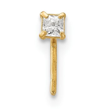14k 2.5 mm Square CZ Nose Stud