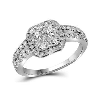 10kt White Gold Womens Round Diamond Square-shape Cluster Split-shank Ring 1-1/4 Cttw