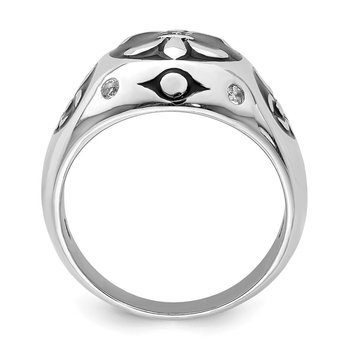 Sterling Silver Rhodium-plated Polished White Topaz Fleur De Lis Ring